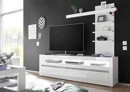 wohnzimmer set carat lowboard mit regal 217cm weiß beton front mdf hochglanz