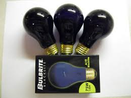 3 black light bulbs 75 watt neon glow standard