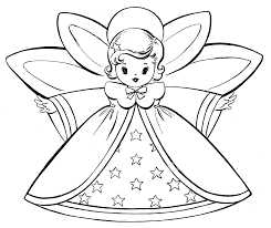 Free Christmas Printable Coloring Pages Retro Angels The Graphics Fairy Book
