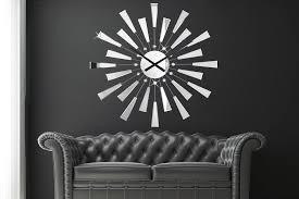 design wanduhr silber edelstahl acrylkristalle 90 cm