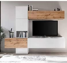 lomadox wohnzimmer design media wohnwand in weiß matt mit