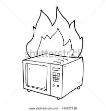 freehand drawn black and white cartoon microwave on fire