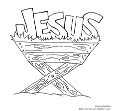 Manger Coloring Page Jesus In Line Drawings