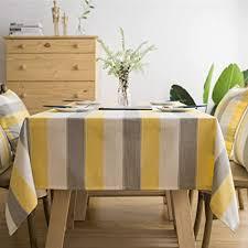 kleine rechteckige tischdecke aus baumwollleinen weiß grau gelb gestreift für teetisch esszimmer wohnzimmer tischdekoration 99 1 x 139 7 cm