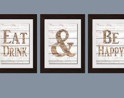 Modern Kitchen Wall Art Shabby Chic Eat And Drink Be Happy