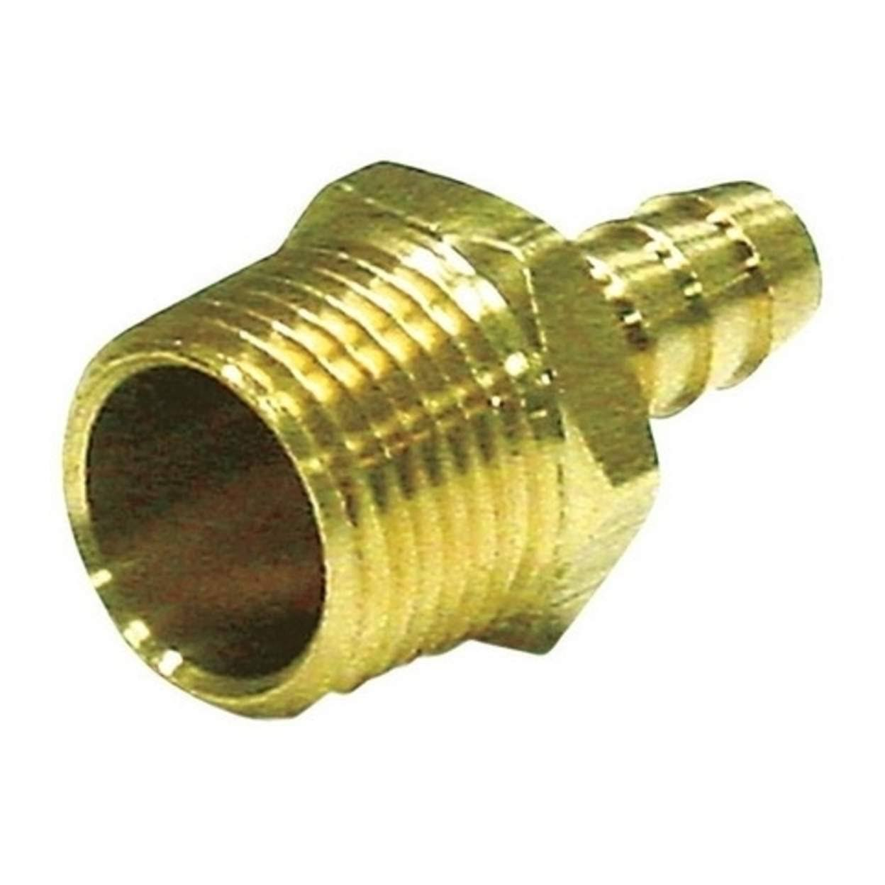 JMF Yellow Brass Hose Barb - 3/8 x 1/2''