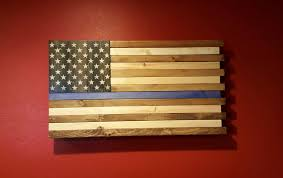 The Thin Blue Line Rustic American Flag Wall Art