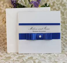 Pretty Layered Royal Blue Stain Ribbon Wedding Invitation With Paper