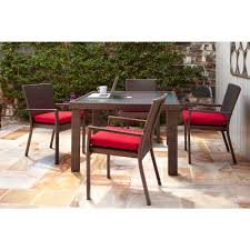Outdoor Cushions Sunbrella Home Depot by Hampton Bay Beverly 5 Piece Patio Dining Set With Cardinal Cushion