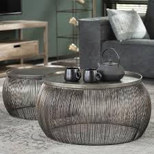 2er set couchtisch tanhua iv drahtgestell bronze 55x55x25cm 65x65x30cm wohnzimmertisch