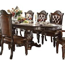 Dining Room Table Sets Leather Chairs Brown