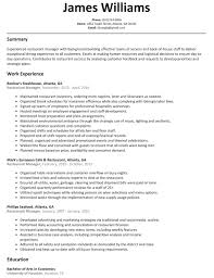 Resume Template Restaurant Manager Free Download Templates Of For Sample