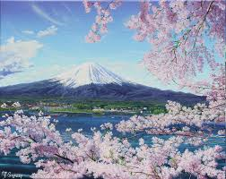 Mt Fuji With Cherry Blossoms By Dreamscape Weaver