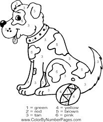 Dog Color By Number Page