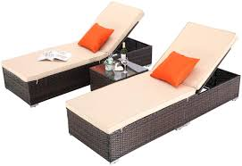 Do4U 3 Pcs Outdoor Chaise Lounge Easy To Assemble Thick & Comfy Cushion  Wicker Lounge Chairs Include 1 Table And 2 Chaise Lounge (Mixture + Beige  ... Amazoncom Wnew 3 Pcs Patio Fniture Outdoor Lounge Stark Item Chaise Chair Brown Festival 2pcs Patiorama Adjustable Pool Rattan With Cushion Espresso Pe Wickersteel Frame Christopher Knight Home 80x275 Green Pads For Chairs Set Of 2 Gojooasis Recliner Styles Biscayne Huyya Lounges Sun Outmax Wicker Folding Back Footrest Durable Easy Carry Poolside Garden 14th Mobility Armrest Chair Staggering Medium Pc