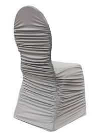 Wedding Chair Sash Buckles by Ruched Fashion Spandex Banquet Chair Cover Silver At Cv Linens