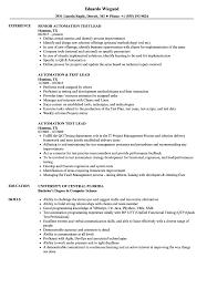 Automation Test Lead Resume Samples | Velvet Jobs