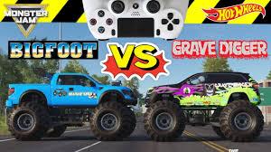 100 Monster Truck Grave Digger Videos Vs Bigfoot Jam S Video Game Challenge And Hot Wheels Surprise
