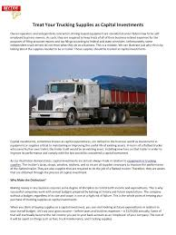 100 Trucking Supplies Default By COCP Treat Your As Capital