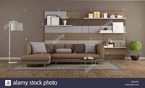 moderne braun und grau wohnzimmer mit sofa und und stoffbahn