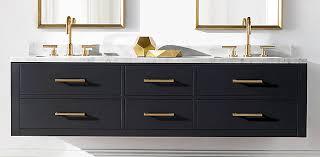 Restoration Hardware Bathroom Vanity Single Sink by Hutton Floating Vanity Bath Collection Obsidian Aged Brass Rh