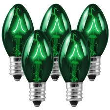 25 pack transparent green c7 light bulbs 5 watt