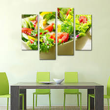 4 Panels Vegetable Paintings Wall Art Salad And Fruit Picture Print On Canvas For Restaurant Kitchen Decor Wooden Framed To Hang