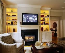 Bookcase Lighting Ideas Living Room Traditional With Fireplace Mantel Crown Molding Glass Coffee Table