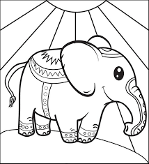 Printable Coloring Page For Kids Of A Circus Elephant