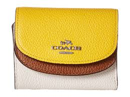 coach color block double flap small wallet in natural lyst
