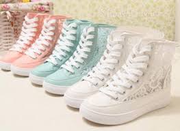 Shoes Floral Lace Crochet Sneakers Heels Platform White Blue Pink Summer Tumblr Vogue Chanel Cute