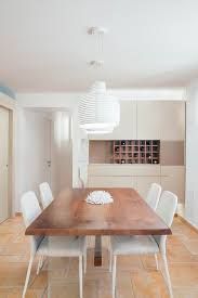 White Contemporary Dining Room With Built In Corner Cabinet Completed Wine Rack Hardwood Table