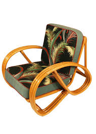 Paul Frankl Style Round Pretzel Arm Rattan Chair Set