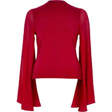 river island red flared sleeve cut out back top in red lyst