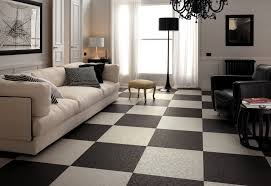 decoration black white living room checkered floor tiles top to
