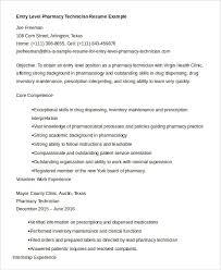 Example Resume For Entry Level Pharmacy Technician