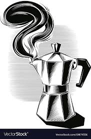 Steaming Italian Coffee Maker Vector Image