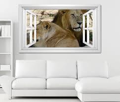 3d wandtattoo fenster löwen afrika raubkatze löwe weiß wand aufkleber wanddurchbruch sticker selbstklebend wandbild wandsticker wohnzimmer 11o2654