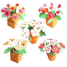 Colorful Eva Diy 3d Handwork Flowerpot Kids Artificial Educational Handcraft Flower Pot Toy Home Decoration Nice Xmas Gift Intelligence App