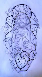 Jesus Tattoo Drawing On Broken Stained Glass