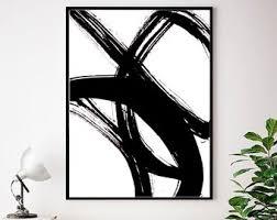 Abstract Wall Art Print Black White Minimalist Modern Scandinavian