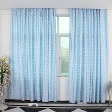 pale blue curtains with polka dot patterns can decorate your room
