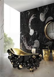 luxus badezimmer mit schwarzer marmor wand