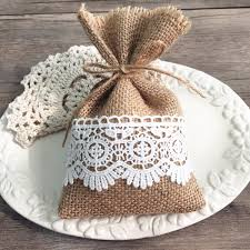 Burlap And Lace Wedding Favors Rustic DIY Gift Bags EWFB068 As Low 165