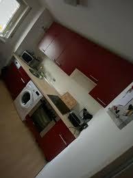 komplette bordeaux rote küche inkl backofen herd und kühlschrank