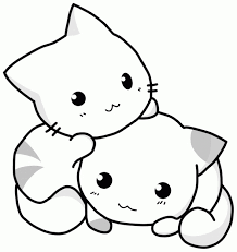 Cat Kawaii Coloring Page Printable Download Free