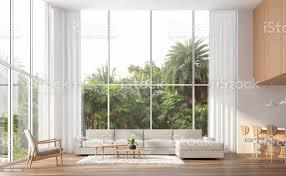 moderne zeitgenössische hohe decke wohnzimmer 3d render stockfoto und mehr bilder architektur