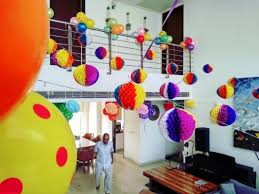 Birthday Decoration Ideas At Home With Balloons And Paper Honeycomb Balls