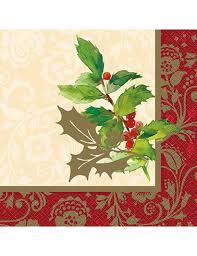 serviette de noel en papier 16 serviettes en papier houx de noël 33 x 33 cm décoration