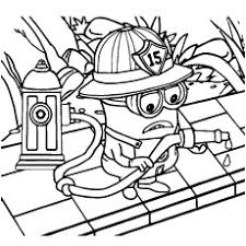 Minion A Fireman From Despicable Coloring Sheet
